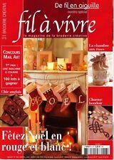 De fil en aiguille N°6 HS fil à vivre point croix Fêtez Noël en rouge et blanc