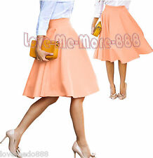 Womens High Waisted Candy Color Casual Wear Work Party Skater Skirt DRESS Small