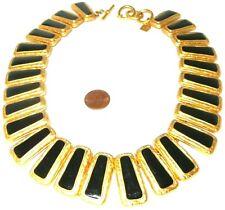 Anne Klein necklace gold & black enamel link statement beautiful!