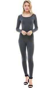 Women's Long Sleeve Scoop Neck Full Length Jumpsuit Catsuit