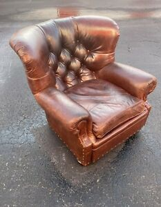 EXCEPTIONAL HOLLYWOOD REGENCY MID CENTURY LEATHER WRITERS CHAIR BY RALPH LAUREN