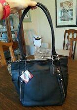 GAL genuine leather handbag with many fancy pockets, color black