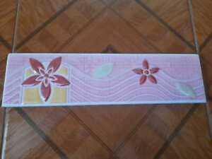 "Set of 3 - 12"" x 3"" Tile Border Old Antique Vintage 1990s Ceramic Collectible"
