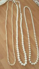 Three Beautiful Long Faux Pearl Necklaces One With Ribbon Tie