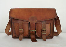 "16x12"" Real Brown Leather Messenger Bag Laptop Satchel MacBook Crossbody Bag"