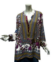 Plus Soft Surroundings Boho Top Tunic Size 2X Border Print Pullover Peasant