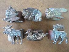 6 COPPER BRONZE NAPKIN RING HOLDERS RUSTIC WILDERNESS CABIN BEER, DEER,  TREE ETC
