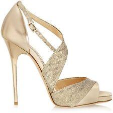 Retail $850  Jimmy Choo Gold Metallic Leather Textured-lamé Sandals Sz41/11
