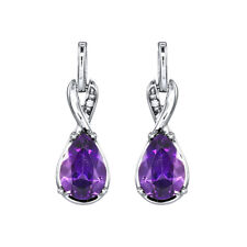 1.52 Ct Pear Cut Natural Amethyst Earring 14K Solid White Gold Diamond Studs