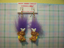 "EASTER WACKY WABBIT / RABBIT EARRINGS - 2"" Russ Troll Dolls - NEW - Purple Hair"