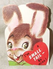 VINTAGE 1950s VALENTINE Buck Tooth BUNNY RABBIT I've a SMALL TAIL - Be Mine