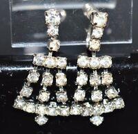 VTG Silver Tone 1940's Art Deco Clear Rhinestone Dangle Screwback Earrings (B)