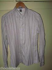 "White Stuff ~ Men's Grey Mix Striped Long Sleeve Cotton Shirt  Size M Medium 41"""