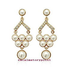 18k Gold Plated Chandelier Crystals Wedding Bridal Women Earring XE6