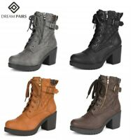 DREAM PAIRS Women's Lady Chunky High Heel Ankle Boots Lace Up Zip Combat Booties