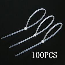 "100 PCS Pack 8"" inch white Network Cable Cord Wire Tie Strap Zip Nylon Good"