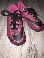 Nike Soccer Cleats Shoes Kids Sz 10C Black And Pink Lace Up Youth Girls