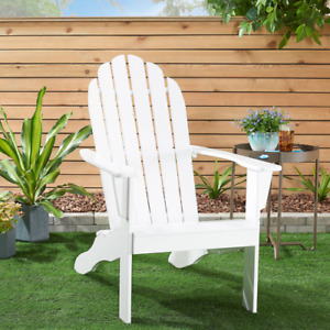 Wooden Outdoor Adirondack Chair Solid Hardwood Large Comfortable Seat