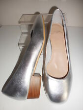Silver Block Heel Shoes Size UK 9 / EU 43 (E) Fit  New In Box From Evans