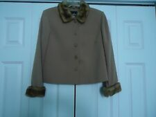 Woman's size 8 Petite Brown Jacket with Brown Faux Fur Collar and Cuffs