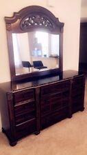 Dark Wood Marble Top Dresser