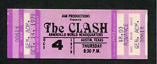 Original 1979 The Clash unused full concert ticket Austin Texas London Calling