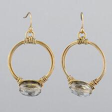 Gold Wire Wrapped Clear Black Dye Stone Hoop Bohemian Style Earrings