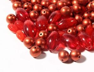 Lot (170) vintage Czech oval red copper metallic round glass beads