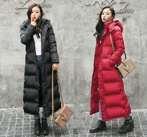 UK Womens Warm Hooded Duck Down Long Coats Outwear Winter Trench Coats Overcoat