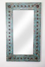 Puebla Mirror-Wood-Mexican-20x34-Rustic-Clavos-Distressed Turquoise-Wall-Soft