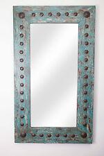 Puebla Mirror-Wood-Mexican-20x34-Rustic-Western-Cowboy--Clavos-Turquoise