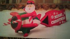 16 ft. lighted Santa on airplane merry Christmas airblown inflatable lights yard