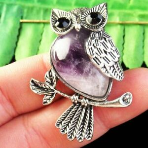 Carved Tibetan silver Wrapped Natural Amethyst Owl Pendant Bead L33997