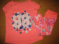 NWT Gymboree Gymgo 5-6 Set Peach Flower 98 Shirt Butterfly Leggings