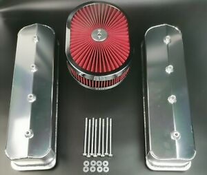 SBC Chevy Fabricated Aluminum Valve Cover Center Bolt+Air Cleaner Vortec 305 350