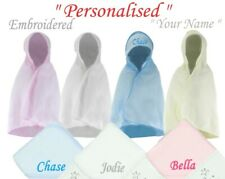 PERSONALISED BABY HOODED TOWEL ROBE GIFT SWIMMING  BOY GIRL PINK BLUE WHITE