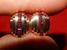 Princess Cut Ruby Omega Back Earrings New listing 14K Solid Yellow Gold 1.60 Tcw