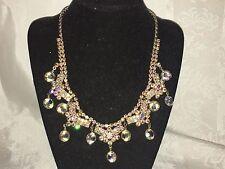 Vintage Art Deco Style AB Rhinestone Open Back AB Glass Necklace Signed Trifari