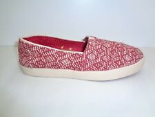 Toms Size 10 AVALON Red Textured Canvas Slip On Casual Sneakers New Womens Shoes