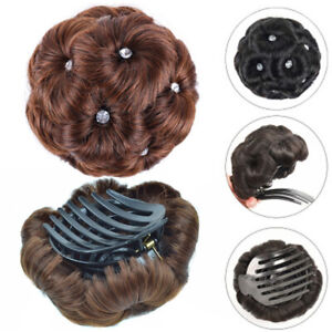 AG_ FT- Faux Crystal Hair Bun Flexible Messy Curly Scrunchie Wrap Ponytail Exten