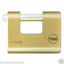Yale Shutter Brass Padlock Long Shackle- 60mm- Y114/60/114/1