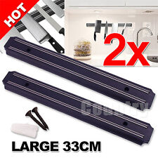 2x Kitchen Tool Wall Mount Magnetic Knife Rack Chef Strip Storage Holder Utensil