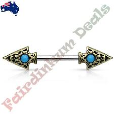 316L Surgical Steel Nipple Bar Ring, Antique Gold Turquoise Set Arrow head Ends