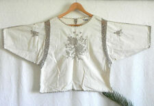 Vtg J.M Pink Boxy Top Cotton Blend Woven Hand Crochet/Embroidery Trim OVERSize M