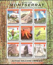 Montserrat Endangered Birds Soufriere Volcano Eruption Overprint Mint Souv Sheet