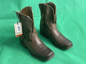 Ariat 4LR Kids Youth Cowboy Cowgirl Boots Brown Leather Size 3.5. NWT