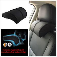 1xBlack Pu Leather Car Ergonomic Memory Cotton Headrest Neck Rest Cushion Pillow