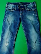 Silver Brand Tuesday Jeans Women's 27x31 Factory Distressed Boot Cut Medium Wash