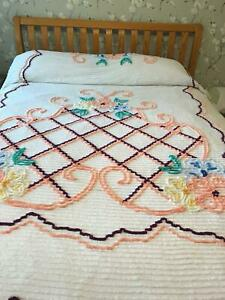 LOVELY VINTAGE CHENILLE BEDSPREAD~PEACH BLUE FLORAL~92 X 102