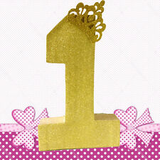 CAKE SMASH PROP NUMBER ONE GOLD GLITTER 1ST BIRTHDAY PARTY CENTREPIECE DECORAT